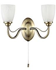 Elche 2 Light Wall Light - Antique Brass