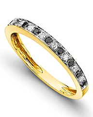 Black & Clear Diamond Half Eternity Ring