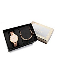 Lipsy Rose-tone Watch and Bracelet Set
