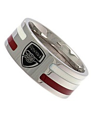 Stainless Steel Striped Football Ring