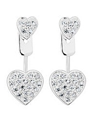 Simply Silver Pave heart lobe earring
