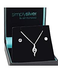 Simply Silver Cubic Zirconia Swirl Set