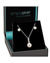 Simply Silver Cubic Zirconia Pearl Set