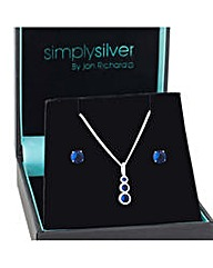 Simply Silver Graduated Sapphire Set