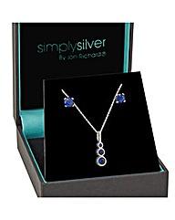 Simply Silver Graduated Sapphire Set