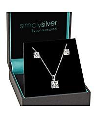 Simply Silver Princess Cut Solitaire Set