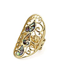 Gold Colour Elasticated Oval Ring