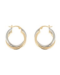Two Tone Plated Twist Creoles