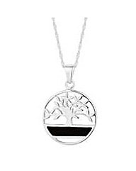 Simply Silver onyx tree of life pendant
