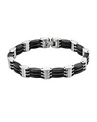 Titanium And Black Gents Bracelet