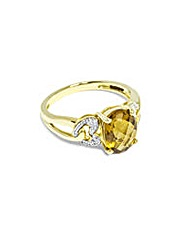 9CT Yellow Gold Diamond Quartz Ring