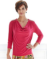 Cowl Jersey Top With Chain Shoulder Trim