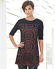 Laser Cut Tunic With Tomato Lining