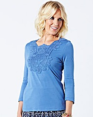 Jersey Top With Lace Insert