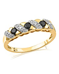 9 Carat Gold Gemstone & Diamond Set Ring
