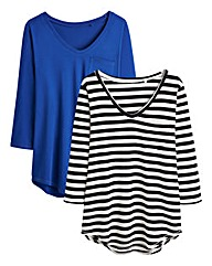 Pack of Two Dipped Hem Tops
