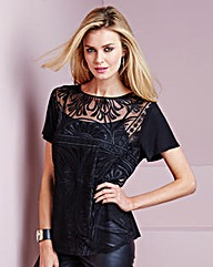 Simply Be Embroidered Mesh Top