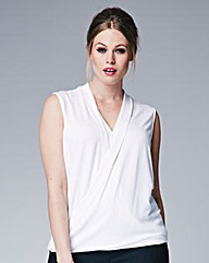 Sleeveless Wrap Front Top