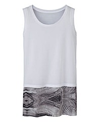Woven Trim Sleeveless T-Shirt