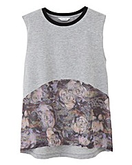Sleeveless T-Shirt with Woven Trim