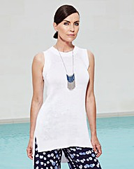 Sleeveless Tunic With Step-Back Hem