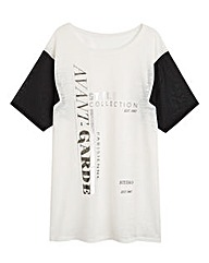 Slogan Top with Sheer Sleeves