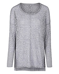 Grey Animal Print Burn Out Jumper