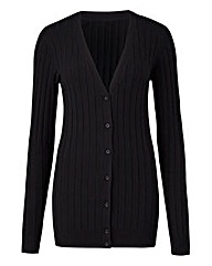 Black Rib V Neck Cardigan