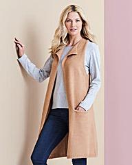 Camel Boucle Sleeveless Waistcoat
