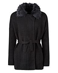 Belted Faux Fur Collar Coatigan