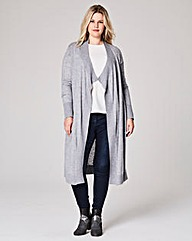 Wool-Mix Longline Waterfall Cardigan