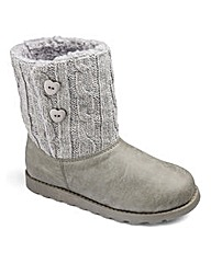 TKD Pull On Girls Knit Boots Wide Fit