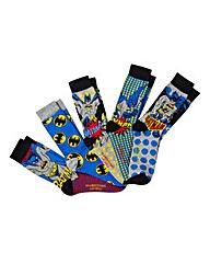 Batman Pack Of 5 Multi Socks