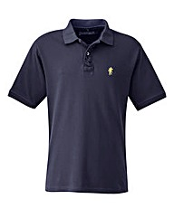 Jacamo Navy Embroidered Polo Xtra Long