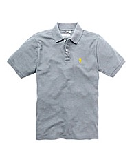 Jacamo Grey Marl Embroidered Polo Long