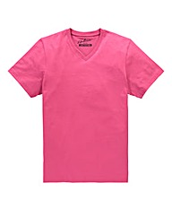 Jacamo Pink Titus V-Neck Tee Long