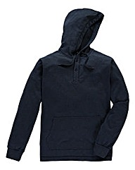 Jacamo Navy Fleck Hooded Top Long