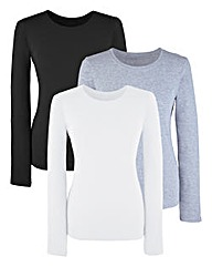 Pack of 3 Round-Neck Jersey Tops