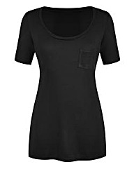Round-Neck Jersey Top With Pocket Detail