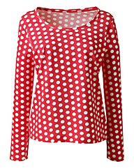 Print Jersey Top With Long Sleeves
