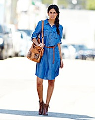 Lyocell Knee Length Denim Dress