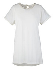 Linen Mix Jersey Top With Diamante Trim