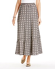 Linen Mix Print Skirt 27in