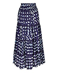 Print Maxi Skirt With Lace Detail