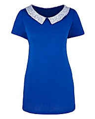 Sequin Collar Pleat Jersey Top