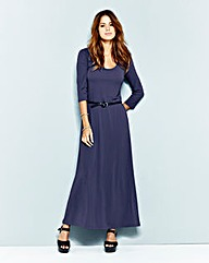 Plain Navy 3/4 Sleeve Jersey Maxi Dress