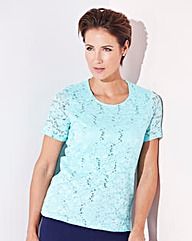 Lace and Sequin Jersey Top