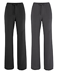 Pack Of 2 Straight Leg Trousers 27in