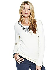 Diamante Trim Jersey Sweat Top