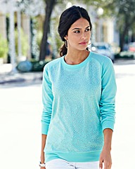 Embellished Jersey Sweat Top